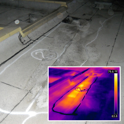 Infrared scanning helps to locate moisture trapped in a roof system.